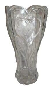 "DePlomb DePlomo 24% Lead Crystal Heart Clear Flower Vase 8.5"" X 4"" Valentine"