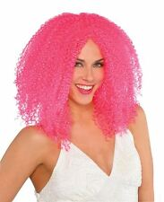 Adult Pink Crimped Wig Fancy Dress Costume Accessory New