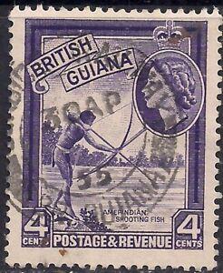 British Guiana 1954 - 63 QE2 4ct Amerindian Shooting Fish SG 334 ( H1485 )