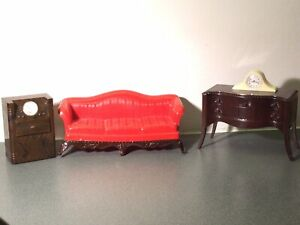 Vintage Renwal Sofa Couch Clock Radio Record Player Buffet Dollhouse Furniture