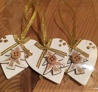 3 X Handmade Christmas Decorations Shabby Chic Wood Heart Trees Gold Glitter