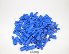 100pc Blue Insulated Spade Electrical Crimp Wire Cable Connector Terminal Kit