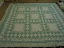 Green & Floral Granny Square Pattern w/Frame Quilt Has Tabs For Hanging