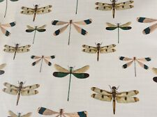 Oilcloth fabric, PVC coated, Exclusive Dragonfly Design, Per Meter