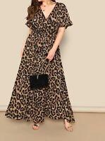 Plus Size V Neck Flounce Sleeve Short Sleeve Belted Elegant Leopard Wrap Dress