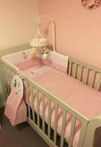 Jemima Puddleduck Nursery Package. Cot Bed set, cushion,Fleece Blanket, Drapes