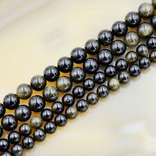 Natural Golden Obsidian Gemstone Round Loose Beads 15.5'' 6mm 8mm