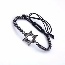 Men's and Women Beads Bracelet with Star of David Inlaid With Zircons Black Gold