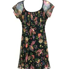 Be Smart Black Floral Pullover Dress Sz 9/10 Short Sleeve Made in USA