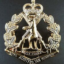 RAR ROYAL AUSTRALIAN REGIMENT SKIPPY BADGE BRASS GOLD PLATED WITH ROUND LUGS