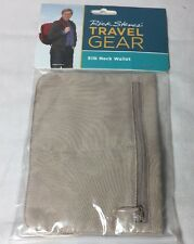 NEW! RICK STEVES SILK NECK TAN WALLET W/ NECK CORD TRAVEL MEN WOMEN SECURITY