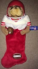 RARE!!☆NFL☆VINTAGE☆Kansas☆City☆Chiefs☆PLUSH☆TEDDY☆BEAR☆IN☆RED☆CHRISTMAS☆STOCKING