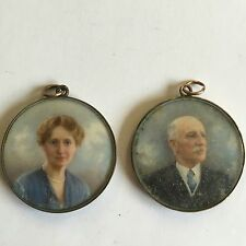 Fine Antique Pair Of Portrait Miniature's In Yellow Metal Frames Fine Quality