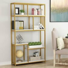Tribesigns 7 Open Shelf Storage Organizer Bookcase Home Office Gold Furniture Us