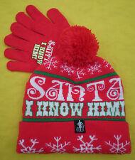 "New ""Santa I Know Him"" Winter Stocking Ski Beanie Pom Hat & Glove Set Elf Movie"