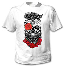 SKULL ROSES BEARD - NEW COTTON WHITE TSHIRT