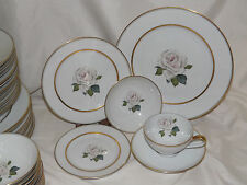 KPM Krister Germany Buss Bruxelles KPM White with Pink Rose Dinnerware Set 64 pc