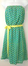 Joy Joy Sz SMALL Eyelet Tube Strapless Dress Mini Jade Green Blue Yellow NEW C9