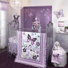 Lambs & Ivy Butterfly Lane 7 Piece Baby Nursery Crib Bedding Set w Bumper Mobile