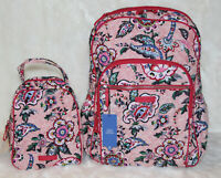 VERA BRADLEY Iconic Campus Backpack & Lunch Bunch Bag Set in Stitched Flowers
