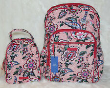 VERA BRADLEY College Campus Large Backpack & Lunch Bunch Bag Stitched Flowers