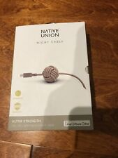 Native Union 10ft Lightning Usb Cable Night Cable Taupe Mfi Certified New