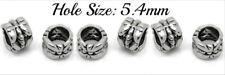 6 x Tibetan Silver Beads Hole 5.4mm