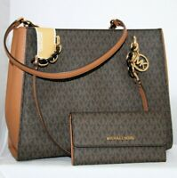 Michael Kors Sofia MK Signature Large Chain Tote Purse Brown & Trifold Wallet