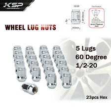 1/2-20 Chrome Wheel Lug Nuts 23pcs Hex 60 Degree Steel Conical Lugnuts For Jeep