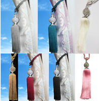 Large Tie Back Diamante Ball Acrylic Clear Tassel Curtain Rope Tieback HoldBacks