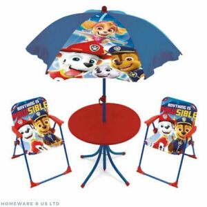 childrens kids paw patrol garden patio table & chairs set parasol 2 chair 3+