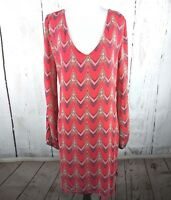 Alya Long Sleeve Shift Dress Orange V Neck Cut Out Large Lined L Chevron Striped