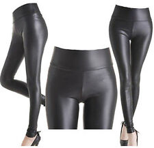 HIGH WAIST Wet Faux Leather Look Matt Leggings Jeggings Tight Pants Size 8-26