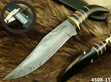 SUPERB HANDMADE DAMASCUS STEEL COW HORN HUNTING BOWIE KNIFE W/ SHEATH (4508-15