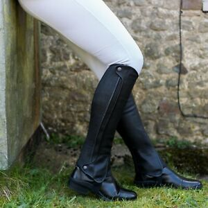 Just Chaps Saltos Half Chaps in Premium Leather Child sizes in Black and Brown
