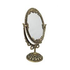 Antique Vintage Style Makeup Oval Hand Bronze Metal Swivel Stand Vanity Mirror