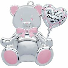 Harvey Lewis Baby's First Christmas 2016 Ornament Swarovski Pink Girl Bear New