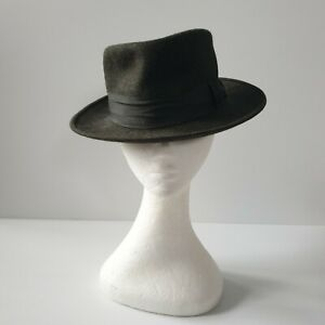 Vintage AKUBRA Clubman Hat Clipper Green Pure Fur Felt 6-3/4 1940s or 50s RARE