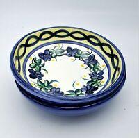 2 Vintage 6.5″ Dessert Fruit Soup Bowls Blue White Small 1999 P Boatman Pottery