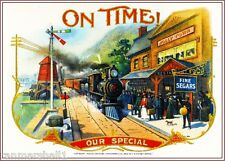 1902 On Time! Locomotive Smoke Vintage Cigar Tobacco Box Crate Inner Label Print