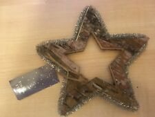 BNIP New Hanging Christmas Tree Decoration - Wooden Star with Silver Tinsel 15cm