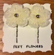 Foxy Flowers 2 Hand Crochet Sparkly Cream Flower Gold Bead Bobby Pin/Hair Clips