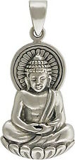 Sitting Buddha Pendant Necklace Buddhist Lotus 925 Sterling Silver Spiritual 869