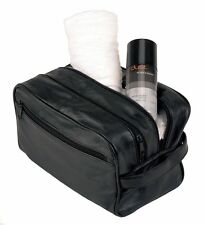 NEW MENS SOFT LEATHER TOILETRY TRAVEL WASH BAG TRAVEL KIT OVERNIGHT GIFT 5214