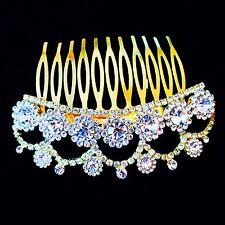 USA use Swarovski Crystal Hair Comb Bridal wedding Party Queen Gemstone Gold