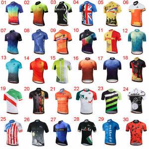 Miloto Men's Short Sleeve Cycling Jersey Top Reflective Cycle Bike Shirt S-5XL