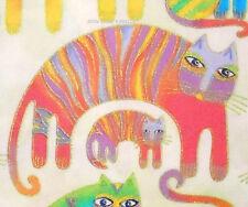 1 Fat Qtr FANTASTIC FELINES Laurel Burch CLASSIC CATS Metallic Pastel Clothwork