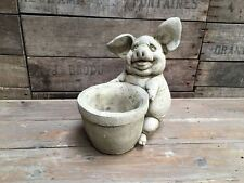 Happy Pig Pot made from Reconstituted stone. Superb Details.