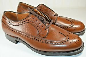 New Vintage Alden Longwing Brown Dress Shoes Pebblegrain Size 8 EEE Extra Wide