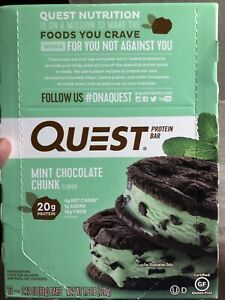 Quest Nutrition Protein Bar Mint Chocolate Chunk 25.44oz 12 Pieces EXP 06/07/22